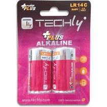 Blister 2 Batterie Power Plus Mezza Torcia C Alcaline LR14 1 5V-Techly-IBT-KAP-LR14T