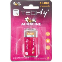 Blister 1 Batteria Power Plus Alcalina 6LR61 9V-Techly-IBT-KAP-LR61T